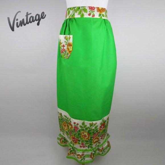 Vintage Long Groovy Green & Floral Print Apron